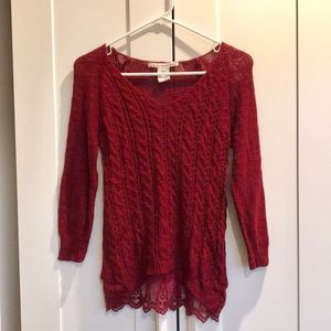 American Rag Sweater with Lace Back Hem